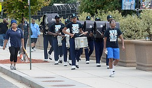The Eastern High School marching band participates in a drum line competition at RFK Stadium in northeast D.C. on Sept. 17 before the Nation's Football Classic between Howard and Hampton.