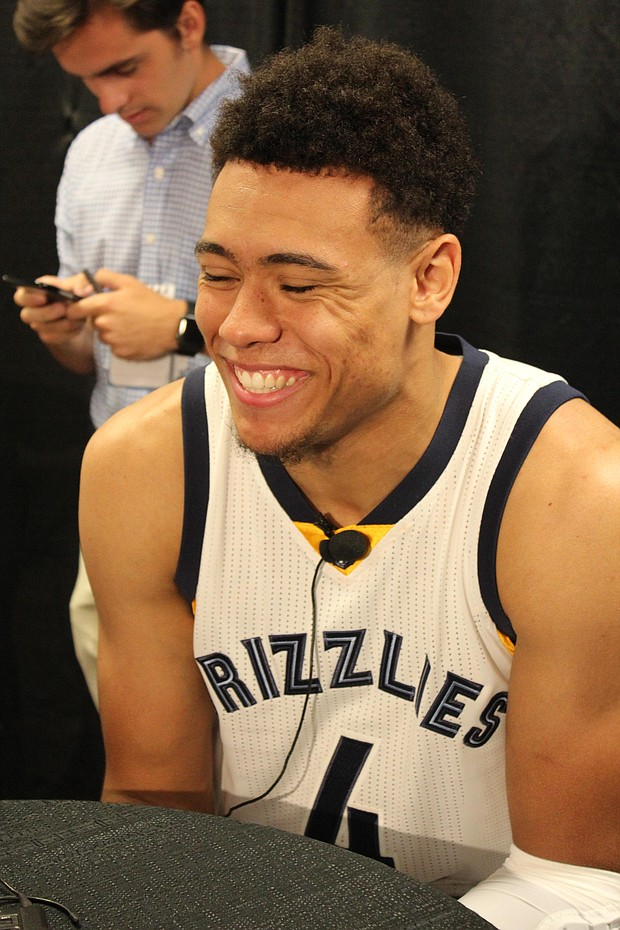 Grizzlies rookie PG Wade Baldwin IV was all grins during Media Day 2016. Baldwin will be competing with Andrew Harrison and Tony Wroten Jr. for backup minutes to starting PG Mike Conley.
