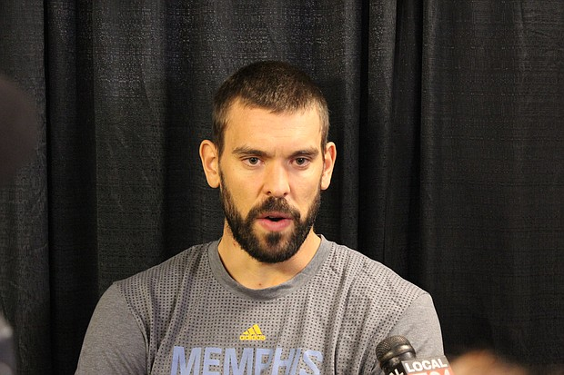 Grizzlies Center Marc Gasol during Media Day 2016.