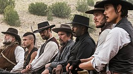 """Byung-hun Lee, Ethan Hawke, Manuel Garcia-Rulfo, Denzel Washington, Chris Pratt, Vincent D'Onofrio and Martin Sensmeier star in Metro-Goldwyn-Mayer Pictures and Columbia Pictures' """"The Magnificent Seven."""""""