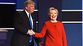 Democratic presidential nominee Hillary Clinton shakes hands with Republican presidential nominee Donald Trump after the first presidential debate at Hofstra University in Hempstead, N.Y., Sept. 26, 2016. TIMOTHY A. CLARY/AFP/GETTY IMAGES