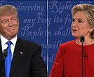Hillary Clinton and Donald Trump in their first presidential debate at Hofstra University