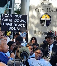 Rev. Al Sharpton speaks at Tulsa City Hall.