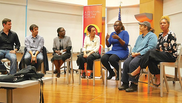 A panel discussed inclusion in innovation as part of a HUBWeek event in Roxbury on Sept. 26. (l-r): Cody Chamberlain of The Youth Innovation Project; Gilad Rosenzweig of Smarter in the City; Ayele Shakur of BUILD Boston; Liora Beer of the Fairmount Innovation Lab;  Alessandra Brown of the Roxbury Innovation Center; Jen Faigel of CommonWealth Kitchen; and moderator Malia Lazu of Epicenter Community.