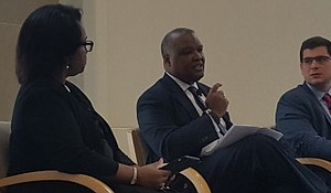 Prince George's County Executive Rushern L. Baker III (center) speaks on a panel about Alzheimer's disease in communities of color during the National Alzheimer's Summit in northwest D.C. on Sept. 28.