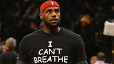 LeBron James #23 of the Cleveland Cavaliers wears an 'I Can't Breathe' shirt during warmups before his game against the Brooklyn Nets during their game at the Barclays Center on December 8, 2014 in New York City. (Photo by Al Bello/Getty Images)