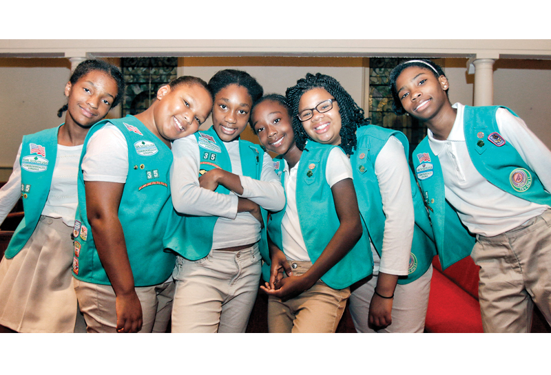 6 junior girl scouts receive coveted scouting award