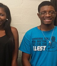 (Left to right) Woodlawn High School seniors T'Yona Dobbins and Elijah Dowell are members of the Project Lead the Way (PLTW) Engineering Program, which introduces students to STEM disciplines, specifically engineering and engineering technology.