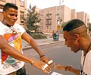 "Bill Nunn as Radio Raheem and Spike Lee as Mookie in ""Do the Right Thing"""