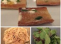 Baguette and butter (top), Caclo a pepe (bottom right) and Red rice salad
