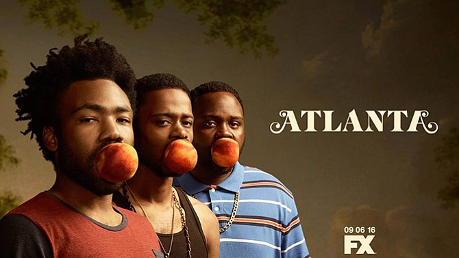 """In """"Atlanta,"""" series creator Donald Glover (left) plays """"Earn,"""" a Princeton dropout trying to come up in the rap game with his cousin """"Paper Boi"""" (right, played by Brian Tyree Henry) and """"Darius"""" (center, played by Keith Stanfield). Glover also starred in NBC's """"Community."""""""