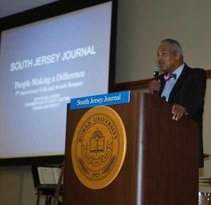 Al Thomas, co-founder and advertising director of South Jersey Journal, gives remarks.