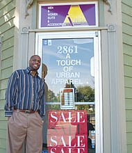 Eric Holden welcomes customers to his Touch of Urban Apparel store at 2861 N.E. Martin Luther King Jr. Blvd., a hot location for both men and women looking for chic, professional and high quality clothing at competitive prices.