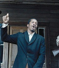 """Armie Hammer (from left) portrays Samuel Turner, Nate Parker portrays Nat Turner and Jayson Warner Smith portrays Earl Fowler in a scene from """"The Birth of a Nation,"""" opening Thursday, Oct. 6."""