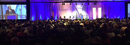 1,700 trustees, presidents, and other community college leaders listen to  keynote speaker Joseph A. Garcia