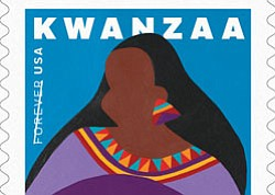 This is the sixth Kwanzaa stamp issued by the Postal Service.