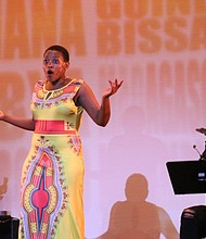 "Actress Jennifer Pau-Kakaza as Miriam Makeba in ""Mama Africa the Musical"""