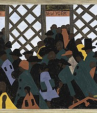 Jacob Lawrence, The Migration Series: During World War I there was a great migration north by southern African-Americans., 1940–41. Casein tempera on hardboard, 12 x 18 in. The Phillips Collection, Washington, DC, Acquired 1942 © The Jacob and Gwendolyn Lawrence Foundation, Seattle / Artists Rights Society (ARS), New York