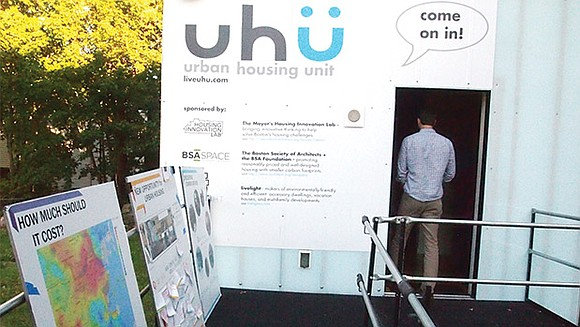 The Urban Housing Unit landed in Roxbury last week, occupying a vacant lot on the corner of Blue Hill Avenue ...