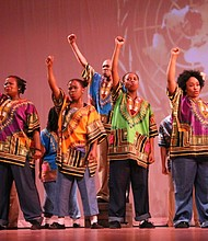 "South African dangers performing ""Miriam Makeba: Mama Africa the Musical"""