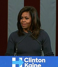 "First lady Michelle Obama delivered Thursday an impassioned denunciation of Donald Trump, calling the recently unearthed comments by the Republican presidential nominee ""shocking"" and ""demeaning,"" and below ""basic standards of human decency."""
