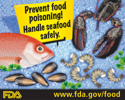 Tips for selecting seafood and serving it safely the for Raw fish food poisoning