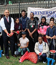 Bronx Borough President Ruben Diaz Jr. joins student volunteers from the newly-launched Bronx Youth Corps to beautify Railroad Park in Melrose on Thursday, October 13, 2016
