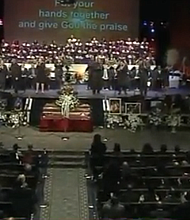 Funeral services for Brooklyn DA Ken Thompson at Christian Cultural Center.