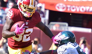 Washington Redskins running back Robert Kelley (32) rushed for 59 yards on just five carries in a 27-20 home win over the Philadelphia Eagles on Oct. 16.