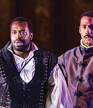 Omar Robinson (left) as Hamlet and Peter G. Anderson as Horatio.
