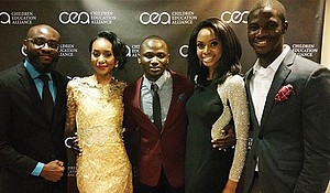 (l-r), a gala guest; Oumou Cherif, founder & executive director at Children Education Alliance Inc.; Mobolaji H Raphaels; Laura Onyeneho; and AYobami Magbagbeola.