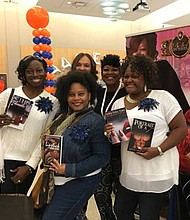 """The 7th Annual African American Authors & Empowerment Book Expo was held at Morgan State University's Student Center Calvin and Tina Tyler Ballroom October 14-15, 2016. There were over 50 authors and panelists on hand giving expert advice in a number of areas. Tonya Wilson, author of """"Portrait of a Hustler"""" and """"The Chronicles of Toni"""" under Polk Publishing House, Baltimore, Maryland (back row, black top) is surrounded by excited Expo attendees."""