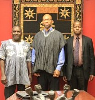 Africana Institute Director Dr. Akil Khalfani flanked by Burkina Faso visitors Seydou Sinka (left) and Apollinaire Ouedraogo