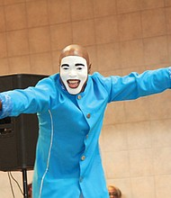 """Entertainment at the expo included mime Antonio """"The Chozen 1"""" Hinton."""