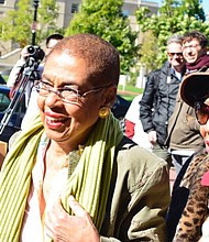 D.C. Del. Eleanor Holmes Norton (D) attends a rally at the One Judiciary Square building in Northwest on Saturday, Oct. 22 as early voting gets underway in the city.