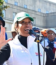 D.C. Mayor Muriel Bowser speaks during a rally at the One Judiciary Square building in Northwest on Saturday, Oct. 22 as early voting gets underway in the city.