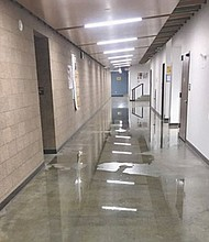 A Portland School District photo shows the newly opened wing of Roosevelt High School which was damaged by flooding caused by vandalism.