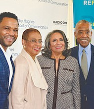 Cathy Hughes (second from right) poses with (from left) actor Anthony Anderson, D.C. Congresswoman Eleanor Holmes Norton and the Rev. Al Sharpton on the red carpet during the Howard University School of Communications renaming celebration on Sunday, Oct. 23.