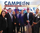 Attending the Campeón Soccer opening at Logan Airport: (l-r) Roy Avellaneda; Josiane Martinez, Archipelago Strategies Group CEO; Thomas Ambrosino, Chelsea City Manager; Jabes Rojas, Governor Office's Deputy Chief of Staff; José C. Massó III, Massport Policy Director; Nam Pham, Massachusetts Assistant Secretary of Business Development; Javier Marin, Campeón Soccer owner; Camilo Hernandez, Boston City Council District 1 Director of Constituent Services; and Verónica Robles, VROCC Director.