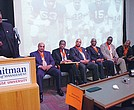 NFL player and Syracuse alum Jim Brown talks at the university during a ceremony honoring the Syracuse 8.