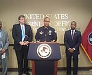 Memphis Police Director Michael Rallings speaks at a joint press conference announcing that the U.S. Department of Justice will do a comprehensive review of MPD. The aim: To help MPD get better. Joining Rallings (l-r): Noble Wray of the DOJ; Memphis Mayor Jim Strickland; and U.S. Attorney Ed Stanton III. (Photo: Tony Jones, INK!)