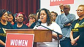 State Rep. Raumesh Akbari (District 91) pitches the importance of voting and doing so early during the Women Vote Early gathering at Mississippi Boulevard Baptist Church last Saturday morning. (Photos: Karanja A. Ajanaku)