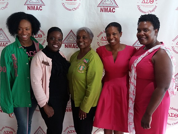 Members of the Pi Kappa Omega Chapter of Alpha Kappa Alpha Sorority, Inc. and the North Manhattan Chapter of Delta ...
