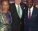 (L to R) Beatrice W. Welters, Ken Langone and Anthony Welters at the NYU Langone Medical Center's Perlmutter Cancer Center Gala.