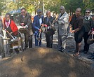 Park Commissioner Mitchell J. Silver, Inez Dickens, Keith Wright, Karen Horry, Geoff Eaton and community members.