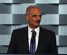 Former Attorney General Eric Holder speaks at the Democratic National Convention in Philadelphia, Pennsylvania on Tuesday, July 26, 2016.