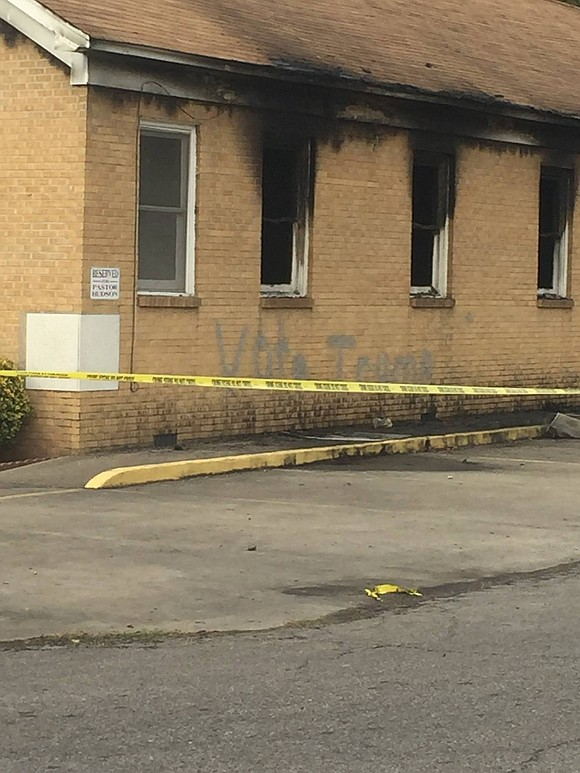 Police vote trump vandalism fire at mississippi black church a