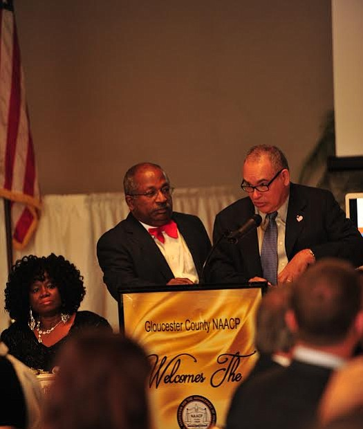 "Master of Ceremony Dr. Warren S. Wallace, left, stands by as Wilfredo ""Wil"" Rojas, accepts the Dr. Irene Hill Smith Civil Rights Award at the Gloucester County NAACP Annual Freedom Fund Dinner and Game Changers Awards. -- Photo by Velvet S. McNeil/VelvetMultimedia.com"