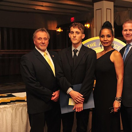 NAACP Media Journalism Awardee Greg Adomaitis, second from left, poses with Lorette Winters, Gloucester County NAACP president, along with Freeholders Frank Dimarco, far left, Dan Christy, second from right, and Jim Jefferson, far right. -- Photo by Velvet S. McNeil/VelvetMultimedia.com