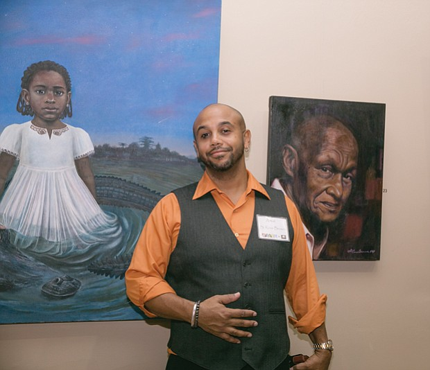 "Celebrating artists // Artist and owner of Browne Art Studio, S. Ross Browne,smiles during the opening last Friday of ""Then and Now,"" a new show at his Manchester studio on Hull Street."